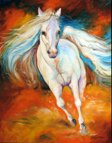 LIKE THE WIND ~ EQUINE ART ORIGINAL OIL PAINTING 28x22 by MARCIA BALDWIN (large view)