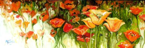 "POPPY FIELD 36 ~ An original oil painting 36""x12"" By MARCIA BALDWIN"