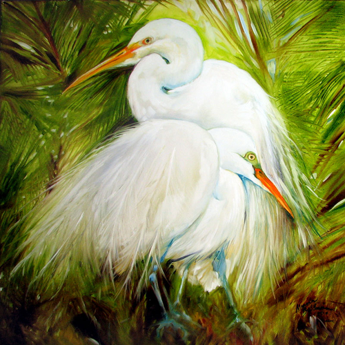 WHITE EGRETS LANDSCAPE WILDLIFE BIRDS OF LOUISIANA ORIGINAL OIL PAINTING 30x30 by MARCIA BALDWIN