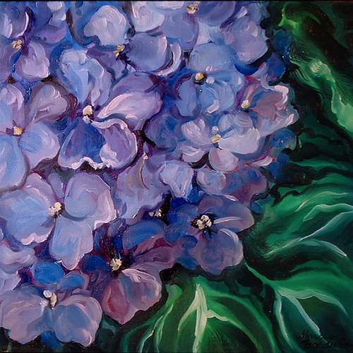 Painting--Oil-FloralVIOLETS