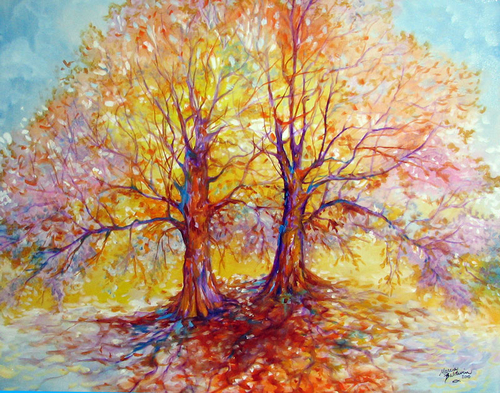 TREE of LIFE DUO ~ an Original Oil Painting Landscape by MARCIA BALDWIN (large view)