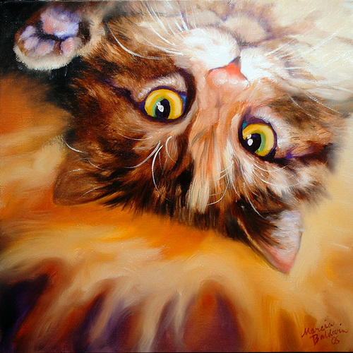 Painting--Oil-AnimalsPEEK A BOO