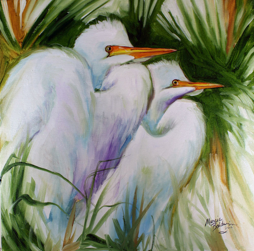 WHITE EGRET PAIR ABSTRACT original oil painting 20x20 by MARCIA BALDWIN (large view)