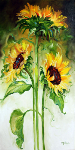 Painting--Oil-AbstractTRIPLE SUNNY SUNFLOWERS