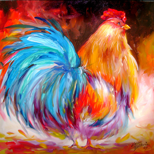 Painting--Oil-AnimalsBIG SHOT ROOSTER