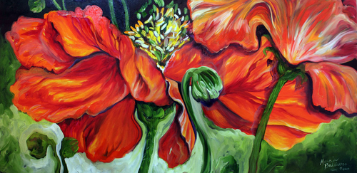 THE POPPIES a FLORAL ABSTRACT in RED (thumbnail)