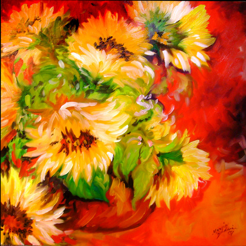 SUNFLOWERS in a TUSCAN VASE (large view)