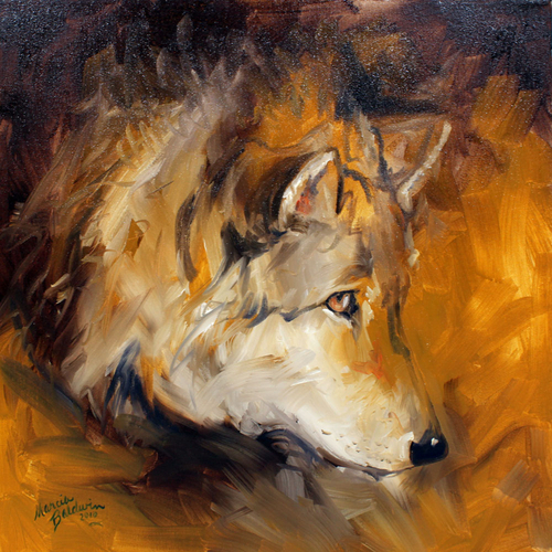 WOLF ABSTRACT 20x20 ORIGINAL OIL PAINTING COMMISSIONED ARTIST MARCIA BALDWIN (large view)