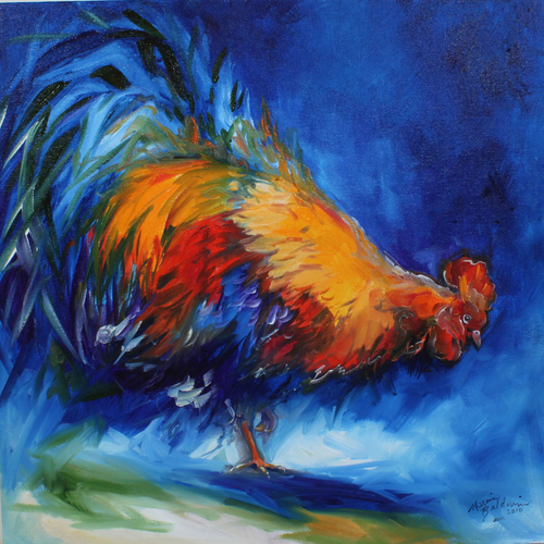 ROOSTER HUNTING 20x20 ORIGINAL OIL PAINTING FARM ANIMALS ARTIST MARCIA BALDWIN (large view)