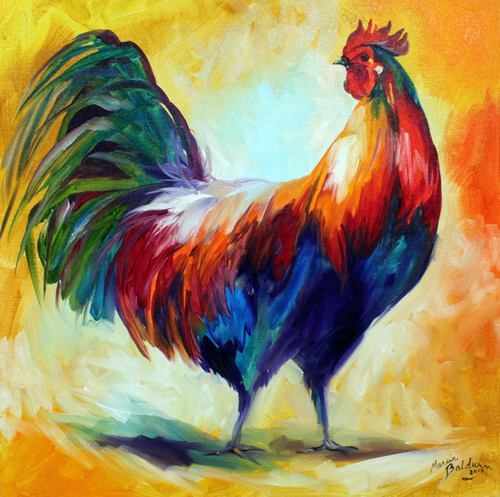 RED WING ROOSTER COMMISSIONED ORIGINAL OIL PAINTING 20