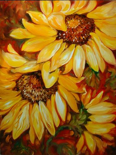 Painting--Oil-FloralTUSCANY SUNFLOWERS II