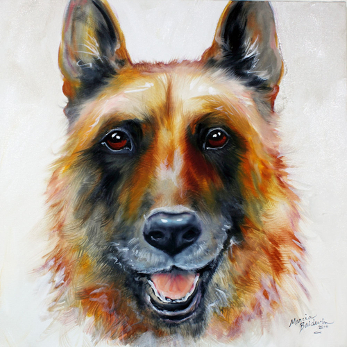 Painting--Oil-AnimalsLAW OFFICER the GERMAN SHEPHERD COMMISSIONED PORTRAIT