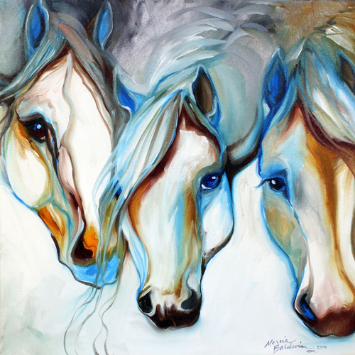 3 WILD ONES ~ EQUINE ART ORIGINAL  (large view)