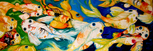 WRONG WAY KOI ~ A FUN ORIGINAL OIL (thumbnail)