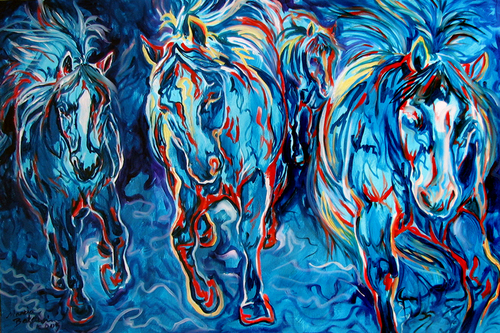 EQUINE ABSTRACT BLUE FOUR