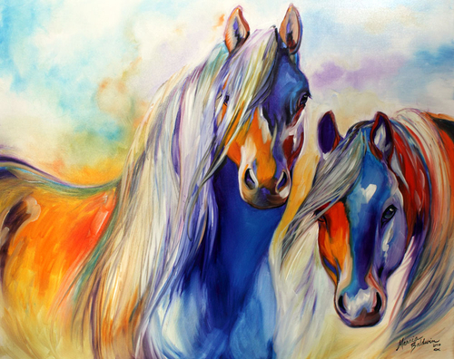 SUN & SHADOW HORSES ORIGINAL OIL PAINTING EQUINE ART by MARCIA BALDWIN (large view)