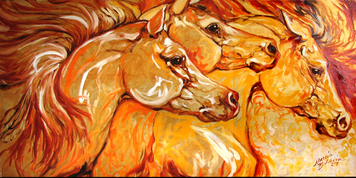 GOLDEN EQUINE ABSTRACT by M BALDWIN (thumbnail)