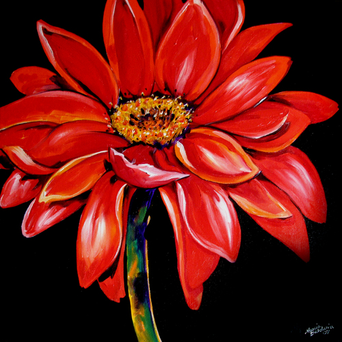 Painting--Oil-FloralRED GERBERA DAISY STEM