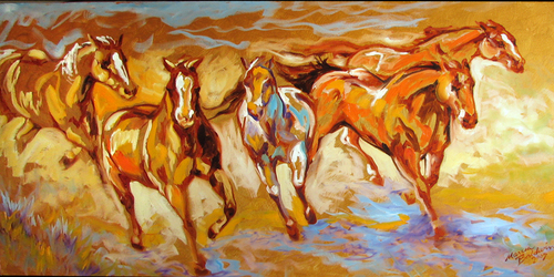 GOLDEN RUN EQUINE ABSTRACT (thumbnail)