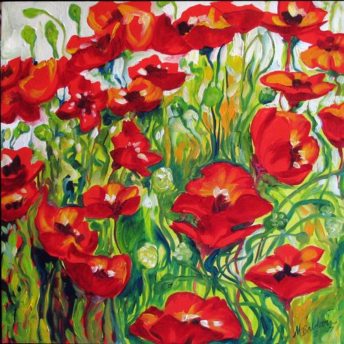 Painting--Oil-FloralPOPPY FIELD of JOY
