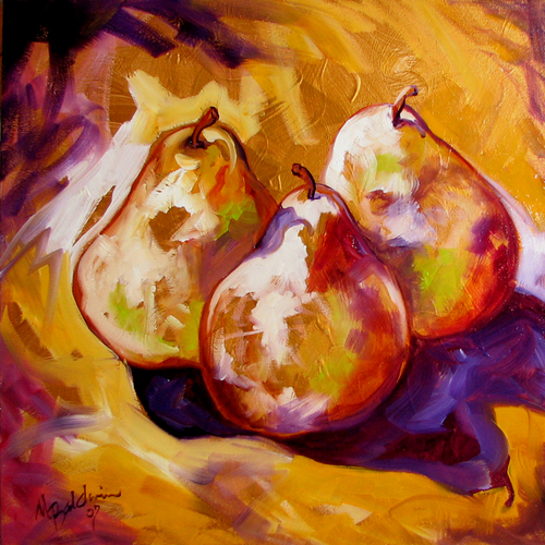 Painting--Oil-Still LifePEARS on GOLD ~ by M BALDWIN