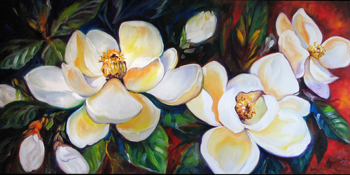 SOUTHERN MAGNOLIAS by M BALDWIN (large view)