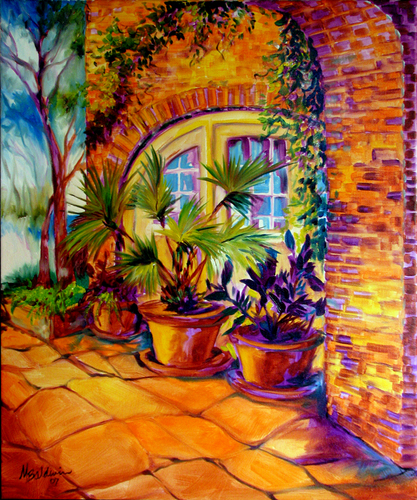 Painting--Oil-LandscapeNEW ORLEANS COURTYARD
