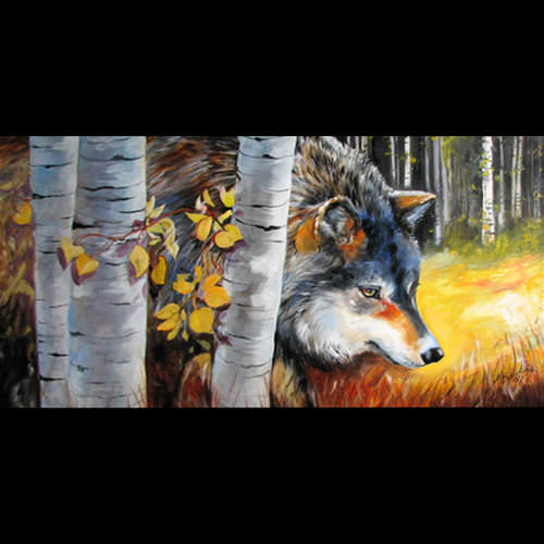 ASPEN TREES & WOLF by M BALDWIN (large view)