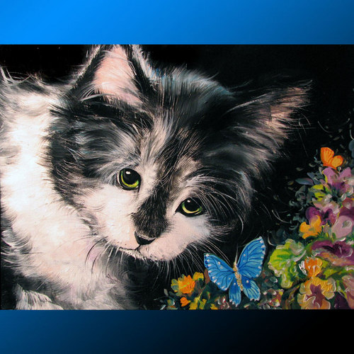 Painting--Oil-AnimalsHERE KITTY KITTY by M BALDWIN