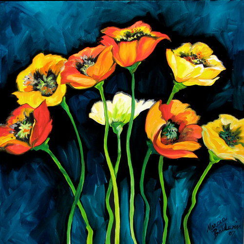 Painting--Oil-FloralEIGHT POPPIES by M BALDWIN