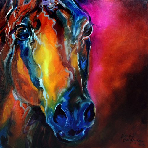 ALLURE ARABIAN ABSTRACT HORSE EQUINE ART ORIGINAL OIL PAINTING by MARCIA BALDWIN (large view)