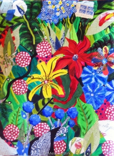 Mixed Media-Representational-Lillies & Leaves
