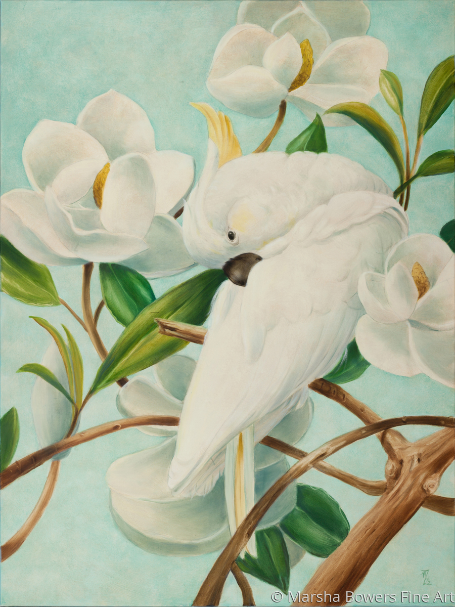 Parrot with Magnolias (large view)