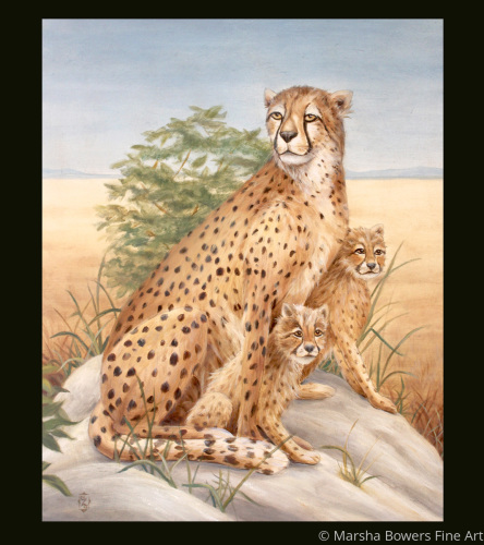 Cheetah With Cubs by Marsha Bowers Fine Art Gallery