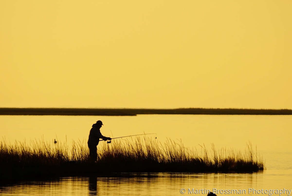 Ocracoke NC Silhouette:  Fisherman (large view)