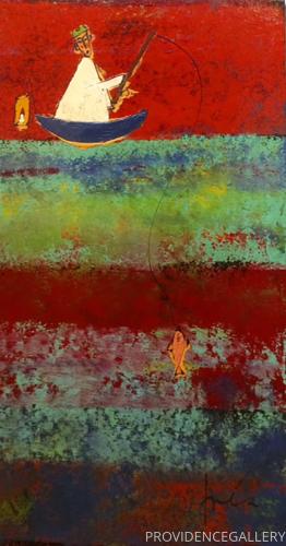 Fishing Monk in a Landscape #18
