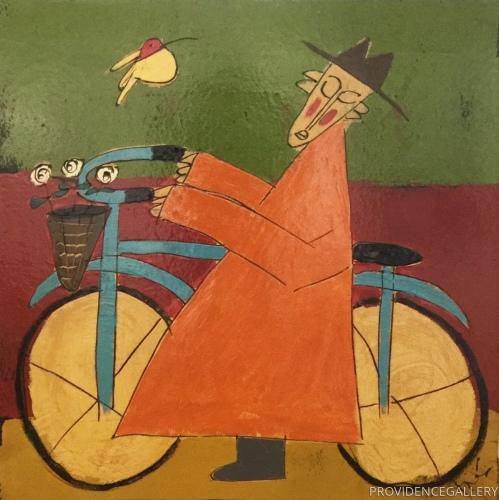 Bicycle Monk in Orange