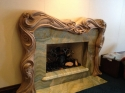 Art Nouveau woodcarving, wood carved mantle, master carver Michael McConnell (thumbnail)