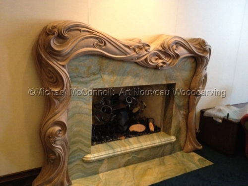 Art Nouveau woodcarving, wood carved mantle, master carver Michael McConnell (large view)