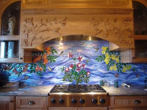 Kitchen Range Hood Carving (large view)