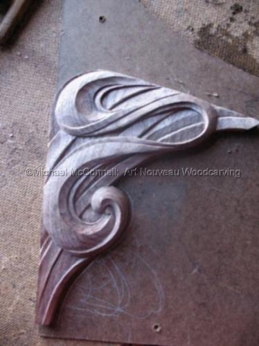 Wood--Carved-DecorativeArt Nouveau Wood Carved Corner Bracket