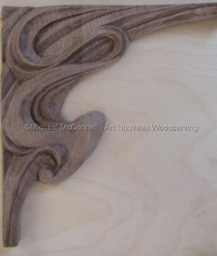 Art Nouveau Wood Carved Corner Bracket (large view)