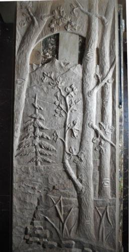 Wood--Carved-FunctionalCarved Door Landscape Scene in Red Oak