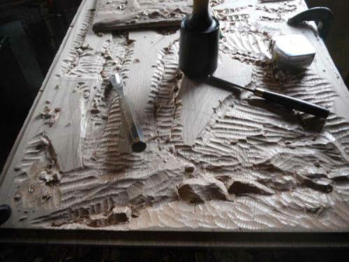 Red oak door panel carving in progress (large view)
