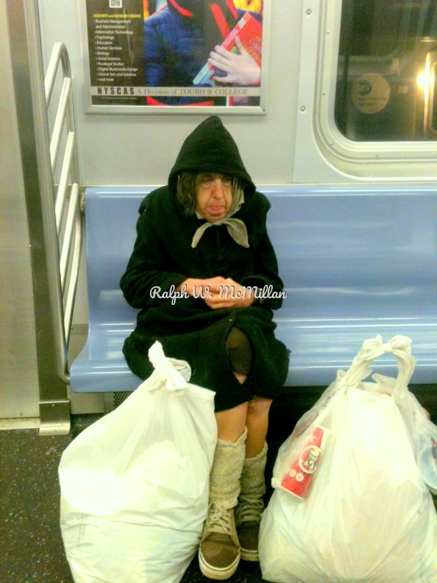 Bag Lady On N.Y.C. Subway (large view)