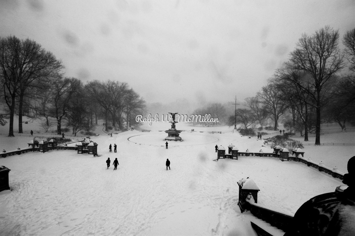 Fountain In Central Park, N.Y.C. - 2016 Blizzard  (large view)
