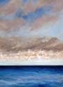 Oil painting on paper of clouds over the ocean at Normandy, France (thumbnail)