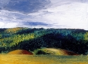 Landscape oil painting on paper mounted on board of clouds and hills near Calvinet, in south-central France (thumbnail)