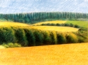 Oil pigment sticks on paper of landscape near Montourcy, in south-central France (thumbnail)