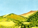 Oil pigment sticks on paper of landscape in the Cantal Mountains in south-central France (thumbnail)